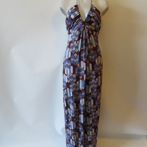 T-BAGS SLEEVELESS V-NECK HALTER MAXI DRESS SZ: M *